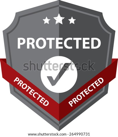 Gray Sign, Symbol And Icon Of A Metallic Shield With Sign - Protected Shield. Isolated On White Background. - stock photo