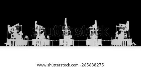 Gray silhuettes of oil pump-jacks. Front view. Industry concept - stock photo