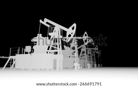 Gray silhuettes of oil pump-jacks. Industry concept