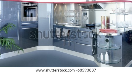 gray silver kitchen modern interior design house decoration - stock photo