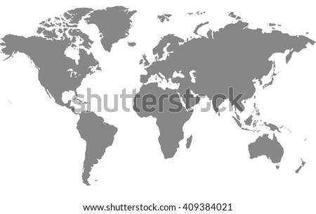 Gray similar world map blank for infographic isolated on white background - stock photo
