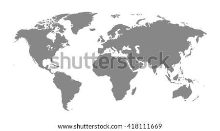 Gray similar world map blank for infographic isolated on white background