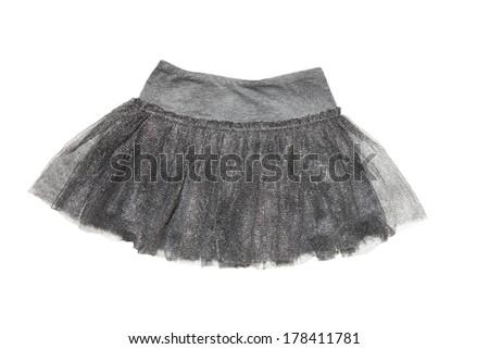 gray skirt for  girl, isolated on white background - stock photo