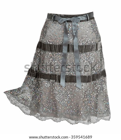 gray skirt isolated on white - stock photo