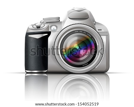 gray slr camera on a white background with the reflection of the - stock photo