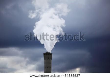 gray smoke in the sky - stock photo
