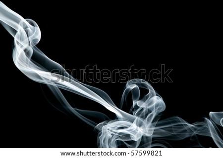 gray smoke on black - stock photo