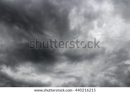 Gray storm clouds before a thunderstorm. Cloudy sky over horizon. - stock photo