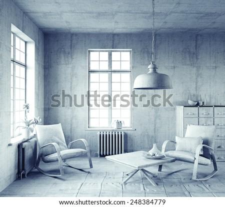 gray style interior. 3d concept - stock photo