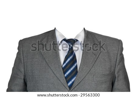 Gray suit isolated on white background