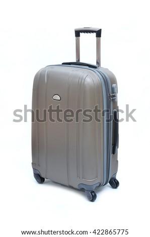 Gray suitcase on white background - stock photo