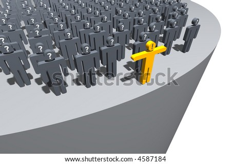 gray symbolic figures standing behind a golden one, stopping them from falling - stock photo