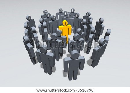gray symbolic figures standing in circles around a golden one expressing knowledge - stock photo