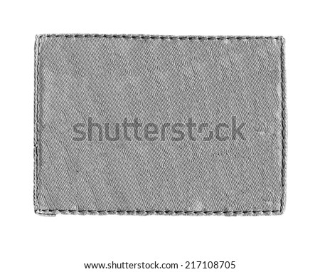 gray textile label on white background - stock photo