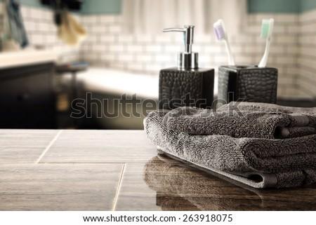 gray towel and soap  - stock photo