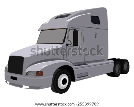 Gray truck without a trailer on a white background