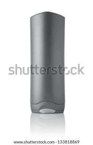 Gray tubes of shampoo, conditioner, hair rinse, mouthwash, on a white background with reflection - stock photo