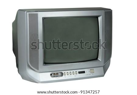 Gray TV isolated on white background - stock photo