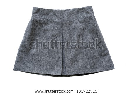 Gray tweed trapezoid skirt on white background