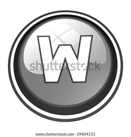 gray W button - stock photo
