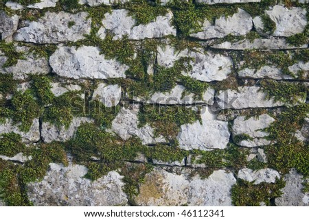 Gray wall of old uneven stones with grass, horizontal - stock photo