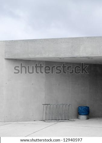 gray wall - urban life - stock photo