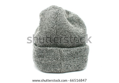 gray warm woolen knitted winter hat - stock photo