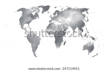 Watercolor world map black and white keywords and pictures gray watercolor world map on a watercolor world map black and white gumiabroncs Images