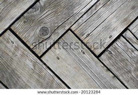 Gray Weathered Wood Deck Planks - stock photo