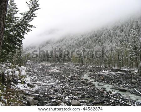 gray winter mountains - stock photo
