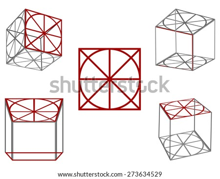 Gray with red cubes on a white background in different planes - stock photo