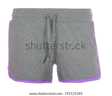 Gray woman shorts isolated on white background - stock photo
