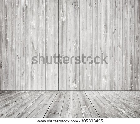 Gray Wooden Wall Texture With Old Pine Fir Floor