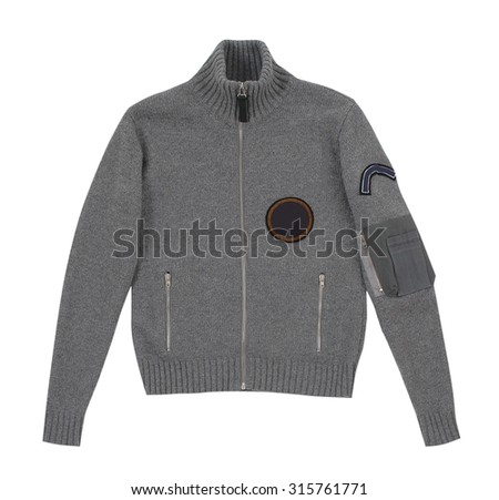 gray woolen winter jacket isolated on white - stock photo