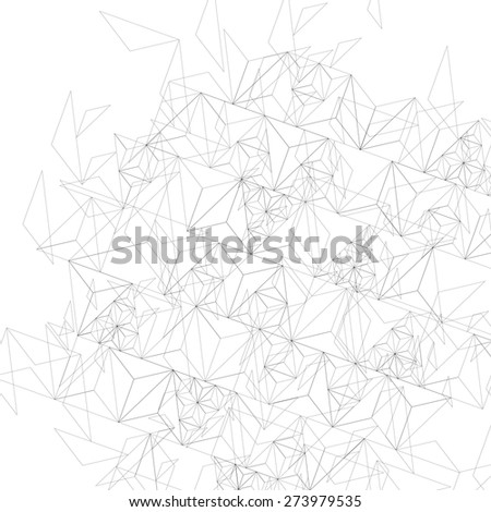 Grayscale technology stylish construction, abstract dimensional background with geometric figures. 3d illusive perspective covering - stock photo