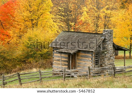 Grayson Highlands State Park Virginia Log Cabin in Autumn Horizontal - stock photo