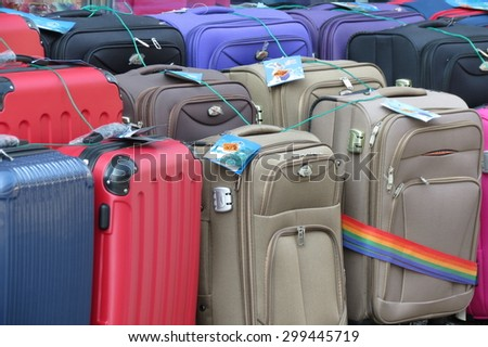 GRAZ, AUSTRIA - CIRCA JULY 2015: Suitcases and bags for sale at a local market - stock photo