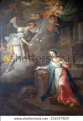 GRAZ, AUSTRIA - JANUARY 10, 2015: Annunciation of the Virgin Mary, Franciscan Church in Graz, Styria, Austria on January 10, 2015. - stock photo