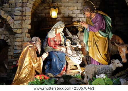 GRAZ, AUSTRIA - JANUARY 10, 2015: Nativity scene, creche, or crib, birth of Jesus in Franciscan Church in Graz, Styria, Austria on January 10, 2015. - stock photo