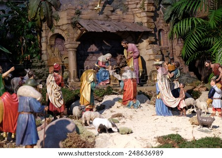 GRAZ, AUSTRIA - JANUARY 10, 2015: Nativity scene, creche, or crib, birth of Jesus in Graz Cathedral dedicated to Saint Giles in Graz, Styria, Austria on January 10, 2015. - stock photo