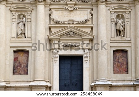 GRAZ, AUSTRIA - JANUARY 10, 2015: Portal of St. Catherines church and Mausoleum of Ferdinand II, Graz, Austria on January 10, 2015. - stock photo