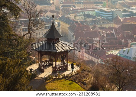 Graz, Austria - January 16, 2011: View of gazebo on Schlossberg hill on top of Graz city Styria, Austria - stock photo