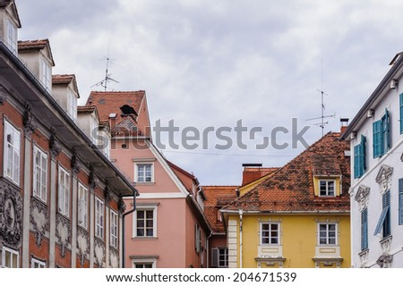 GRAZ, AUSTRIA - JUN 27, 2014: Architecture in the area called 'Bermuda Triangle' in Graz, Austria. Graz is the capital of federal state of Styria and the second largest city in Austria