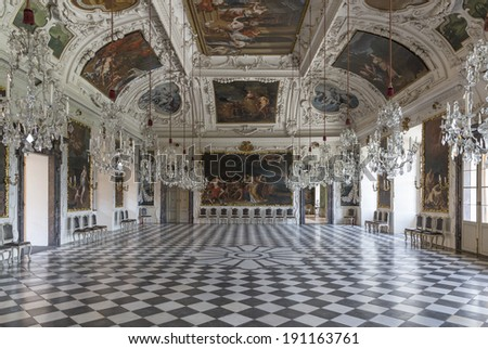 GRAZ, AUSTRIA - MAY 2: Interior of Eggenberg Palace as on May 2, 2014 in Graz. The  Palace built 1625-1635,  is the most significant Baroque palace complex in Styria. - stock photo