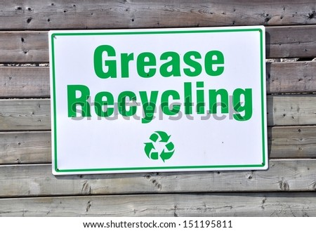 Grease recycling signage - stock photo