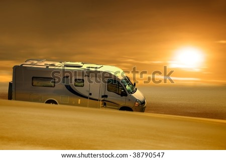 grease van in desert - stock photo