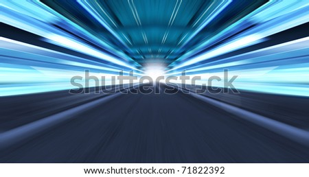 Greased light on high-speed highway of night city - stock photo