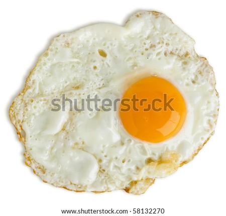 Greasy fried egg on white background - stock photo