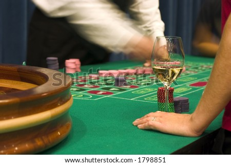 great addictions (wine and gambling) - stock photo