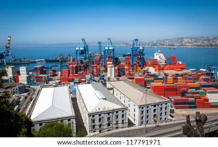 Great aerial shot of Valparaiso port activity. Great set of colors and building perspective. - stock photo